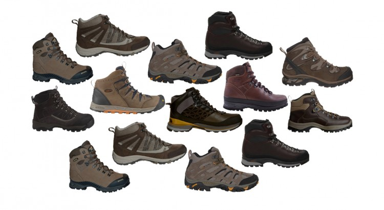 Different hiking boots